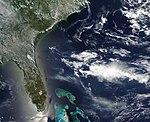 Smoke from the Honey Prairie and Pains Bay fires, Atlantic Ocean (5712979658).jpg