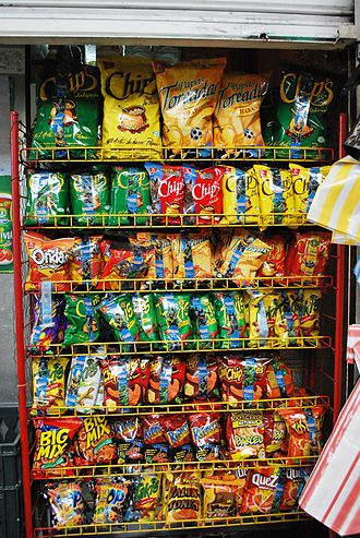 Convenience food - A rack of convenience snack foods, including chips and pretzels