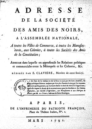 Society of the Friends of the Blacks - Front page of Société des amis des noirs, March 1791