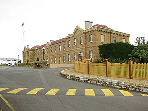 The two story Soldiers' Barracks at Anglesea Barracks. This building was built between 1847 and 1848.