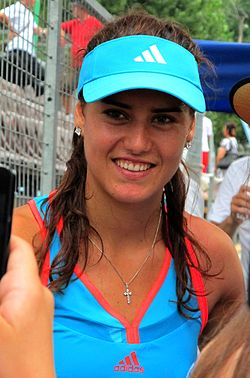 Sorana Cîrstea posing for a photo at the 2011 BCR Open Romania Ladies.jpg