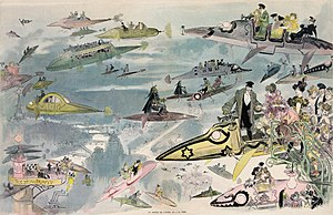 Print shows a futuristic view of air travel over Paris as people leave the Opera. Many types of aircraft are depicted including buses and limousines, police patrol the skies, and women are seen driving their own aircraft