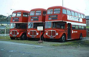 South Wales Transport - Willowbrook bodied AEC Regent Vs in Haverfordwest October 1980