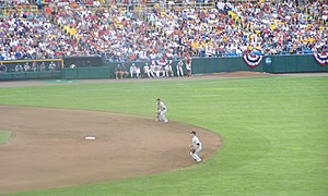 Southern Miss Golden Eagles and Lady Eagles - Southern Miss 2B James Ewing and SS B.A. Vollmuth play in a 2009 College World Series game.