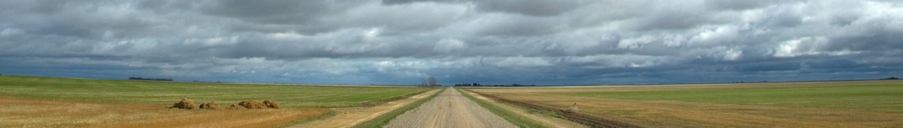 Road through the prairie in Southern Saskatchewan