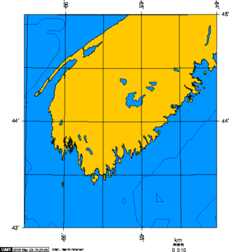 Cape Sable Island - Southern tip of Nova Scotia, showing Cape Sable Island.