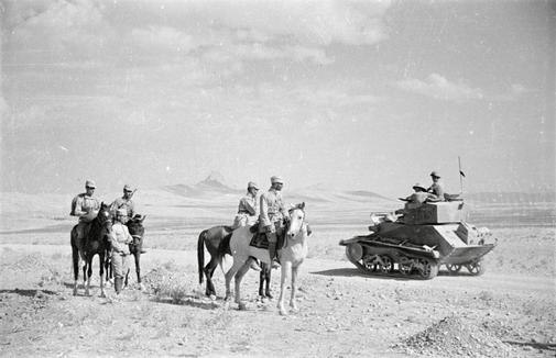 Soviet and British troops rendezvous in the desert near Quazvin