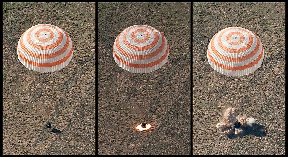 Soyuz TMA-17 retro-rockets firing during landing