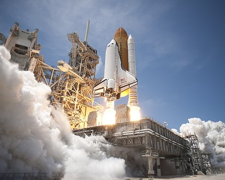 Atlantis lifts off from Launch Pad 39A at NASA's Kennedy Space Center in Florida on the STS-132 mission to the International Space Station at 2:20 pm EDT on May 14, 2010. Space Shuttle Atlantis launches from KSC on STS-132 side view.jpg