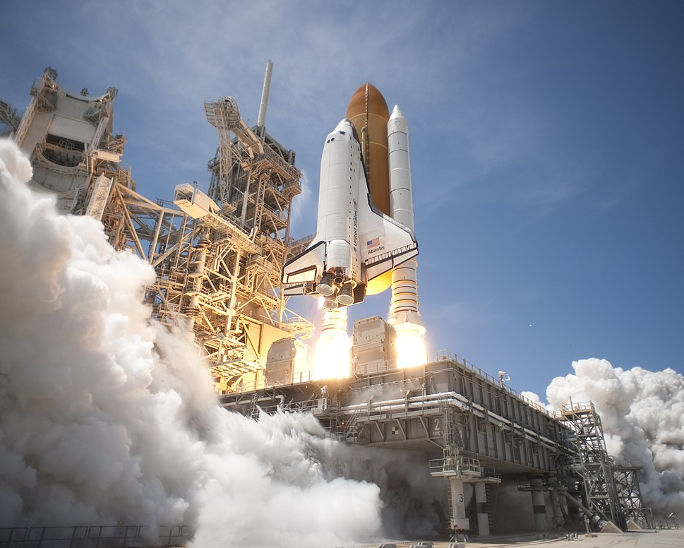 Space Shuttle Atlantis launches from KSC on STS-132 side view