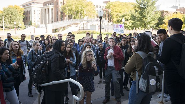 From commons.wikimedia.org: College rally against hate speech {MID-70559}