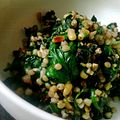 Spinach catalan style (pine kerneks and rasins) with buckwheat (8002902871).jpg