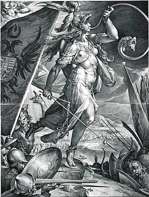 "Bellona (goddess) - ""Bellona Leading the Imperial Armies against the Turks"", a 1600 print of Bartholomaeus Spranger's  design"