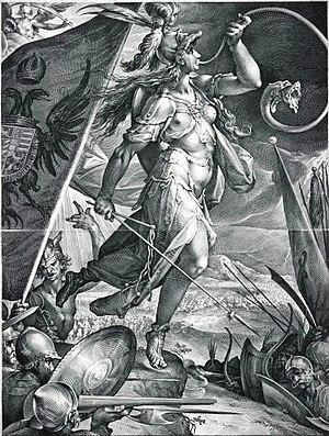 "Bellona (goddess) - ""Bellona Leading the Imperial Armies against the Turks"", a 1600 print of Bartholomaeus Spranger's  design"