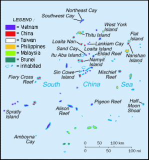 Spratly Islands Group of reefs, islets, atolls, cays and islands in the South China Sea