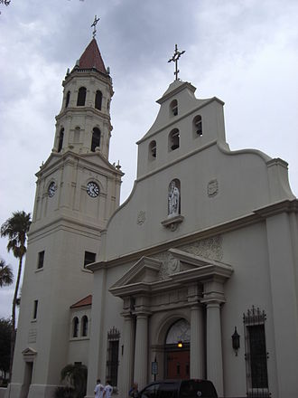 Cathedral Basilica of St. Augustine (St. Augustine, Florida) - Main facade with Neoclassical elements surrounding the doorway and Spanish mission styling at the gables