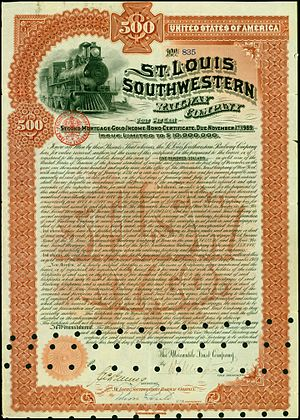 St. Louis Southwestern Railway - Bond of the St. Louis Southwestern Railway Company, issued 12. February 1891