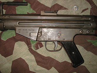 CETME rifle - Close-up of CETME prototype. Note: position of rear sight and selector markings.