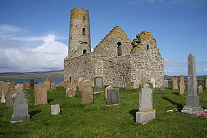 St Magnus Church, Egilsay - St Magnus Church and graveyard have a prominent position on the low island of Egilsay