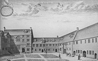 St Mary Hall, Oxford - 1675 Copper engraving of St Mary Hall