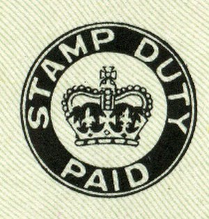 Stamp duty - Image: Stamp Duty Paid mark for British cheques from 1956