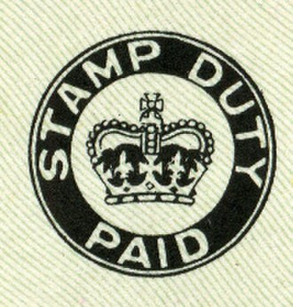 """Stamp duty in the United Kingdom - The """"Stamp Duty Paid"""" mark that appeared on British cheques from 1956 to 1971."""