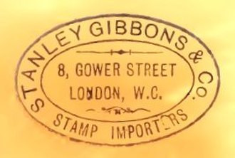 Stanley Gibbons - Stanley Gibbons rubber stamp impression Gower Street 1881.