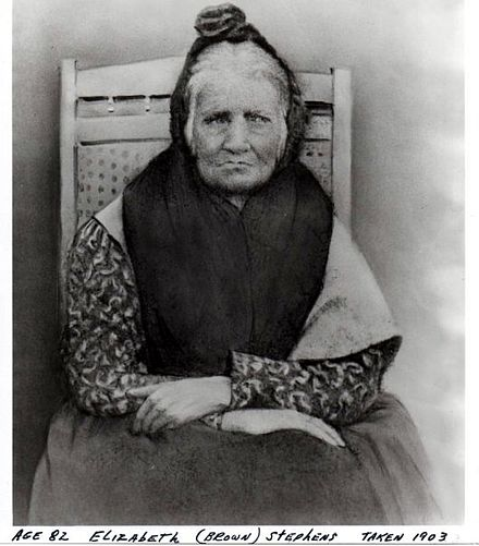 "Elizabeth ""Betsy"" Brown Stephens (1903), a Cherokee Indian who walked the Trail of Tears in 1838 Stephens.jpg"