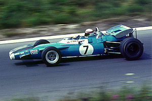 Jackie Stewart in 1969 with a Matra-Ford at the Nürburgring. The car wears the blue racing colour of France.
