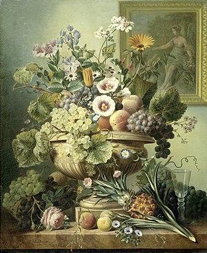 Eelke Jelles Eelkema - Image: Stilleven met bloemen en vruchten Rijksmuseum SK C 131
