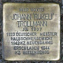 "Photo of Johann ""Rukeli"" Trollmann brass plaque"