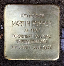 Photo of Martin Popper brass plaque