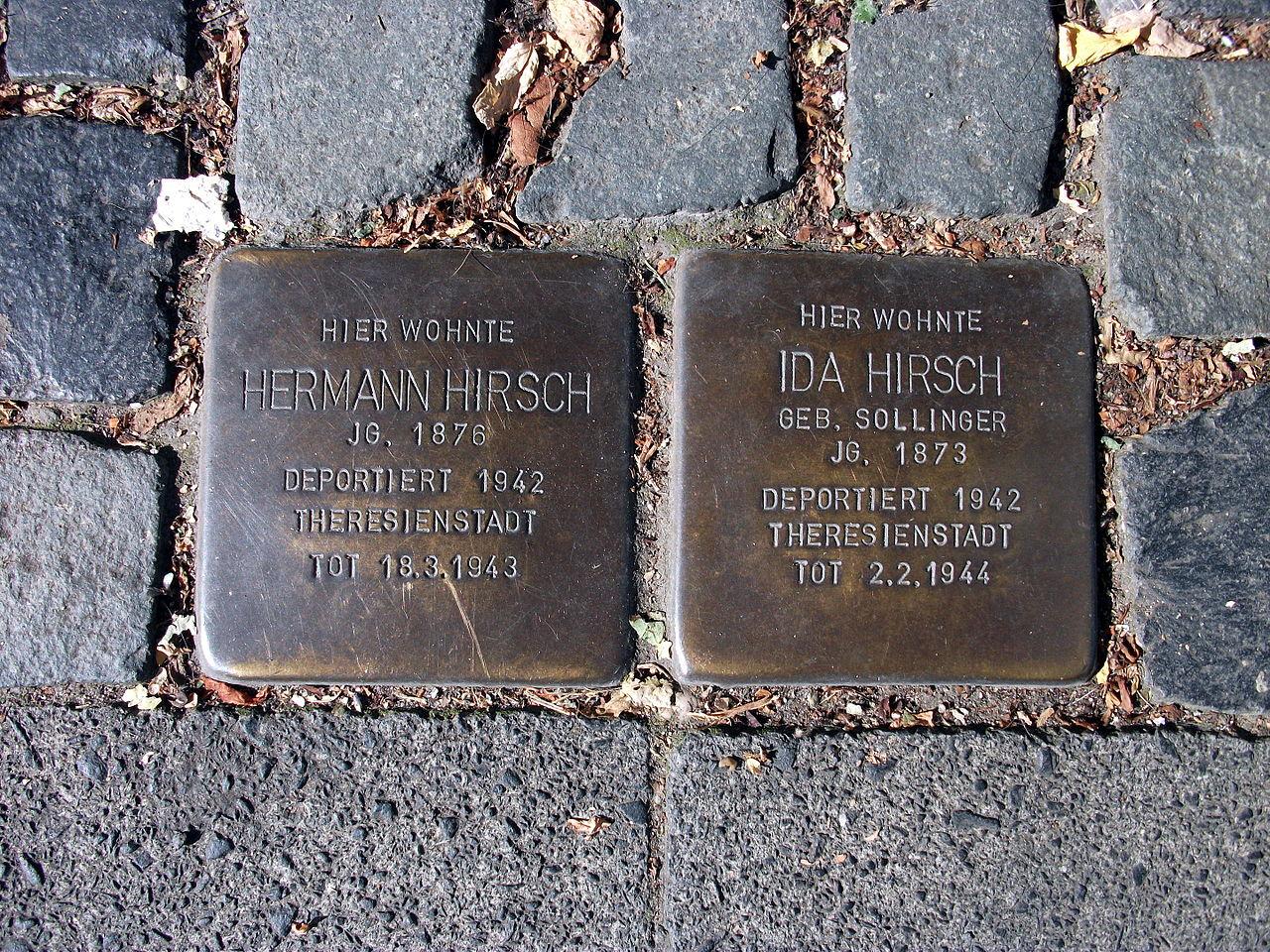 Stolpersteine Hermann Hirsch, Ida Hirsch, Baumschulallee 26, Bonn.JPG