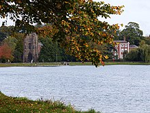 Photograph of Stowe Pool, with Stowe House in the background