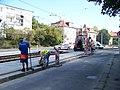 Strašnice, Průběžná, rekonstrukce TT, Dubečská, asfaltéři.jpg