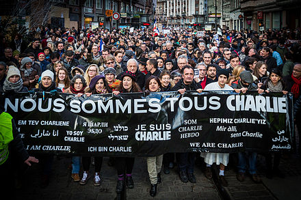 Republican marches were organised across France after the January 2015 Ile-de-France attacks perpetrated by radicalised Islamist extremist terrorists; they are the largest public rallies in French history. Strasbourg manifestation Charlie Hebdo 11 janvier 2015-2.jpg