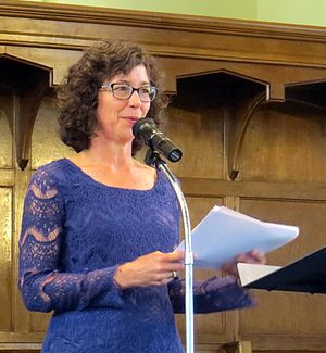 Sue Wootton - Sue Wootton, photographed at a reading in Knox Church, Dunedin in March 2016