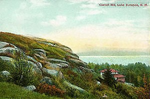 Glacial landform - Antique postcard shows rocks scarred by glacial erosion.