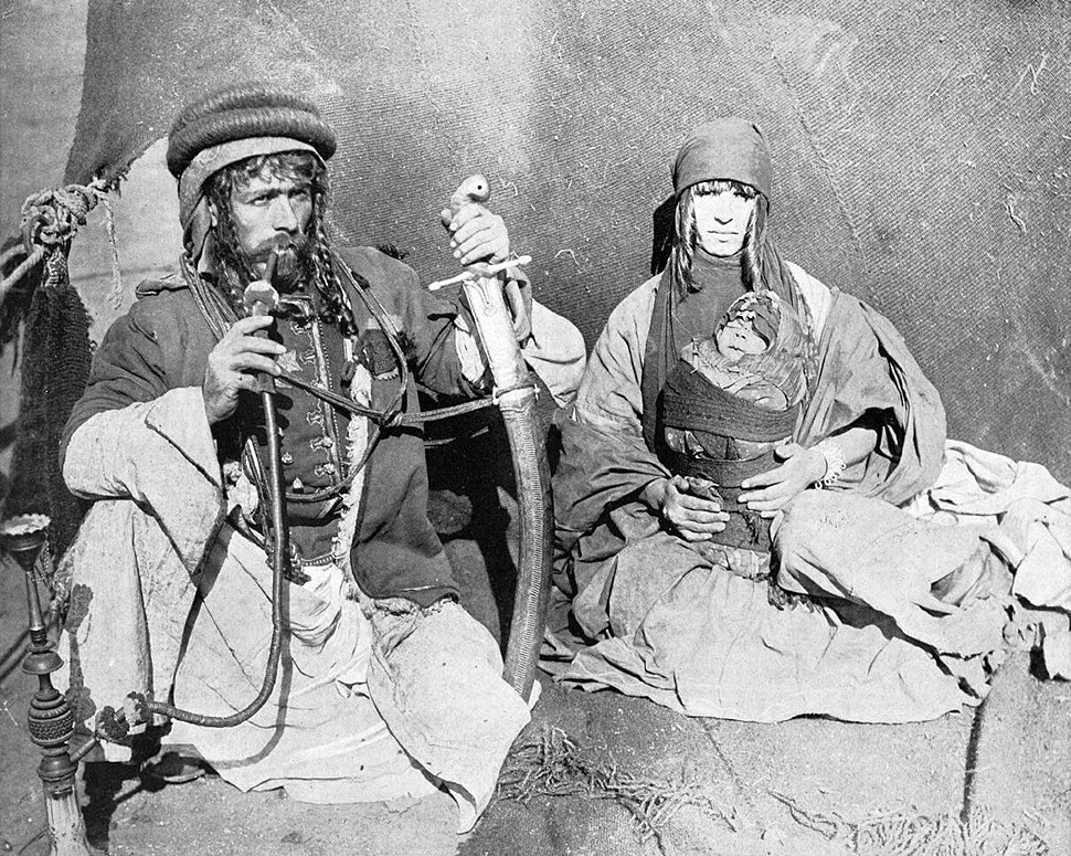 Syrian Bedouin Kahlil Sarkees with family,1893 World's Columbian Exposition