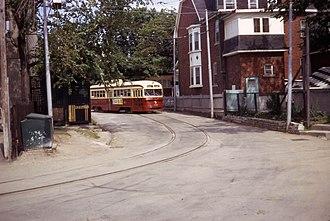 Toronto streetcar system loops - Air-electric PCC 4226 at Earlscourt Loop in 1968