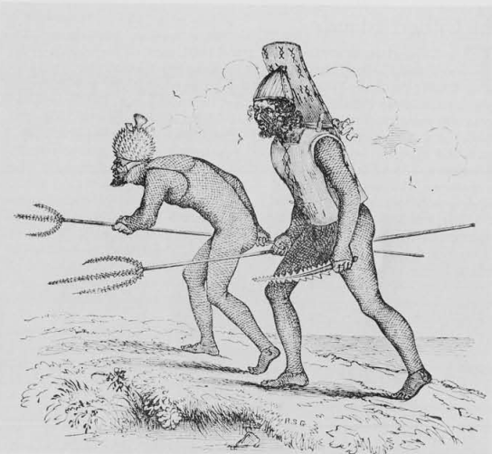 Tabiteuean warriors of the Gilberts Islands, about 1840