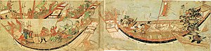 Kikuchi Takefusa - Also from the Mōko Shūrai Ekotoba: Takefusa and his men boarding the Mongolian ships. You can see Takefusa cutting off a Mongol soldier's head.
