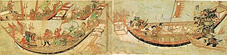 Kamakura period - Japanese samurai boarding Mongol ships in 1281