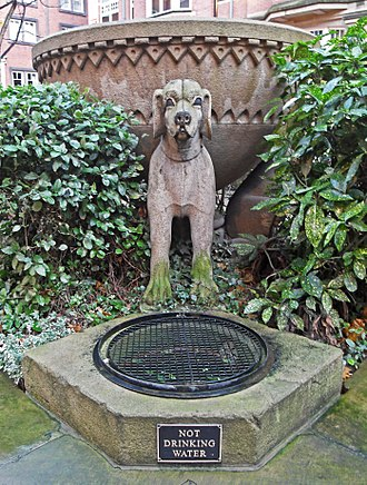 Talbot (dog) - Talbot Hounds Fountain in Trevelyan Square, Leeds, a modern imaginary image of the talbot