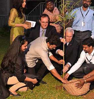 Vijay (actor) - Vijay planted a tree in honor of World Environment Day at U.S. Consulate in 2013