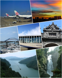 From left to right, top to bottom: China Airlines passenger plane on the Taoyuan International Airport, Taoyuan district , Yongan Fishing Port, HSR Taoyuan Station, Daxi Old Street of Baroque architecture, Shihmen Reservoir, Small Wulai Waterfall