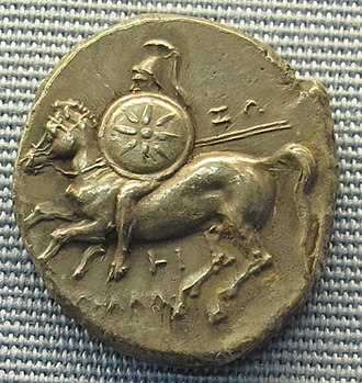 Greek coinage of Italy and Sicily - Tarantine coin portraying a mounted soldier