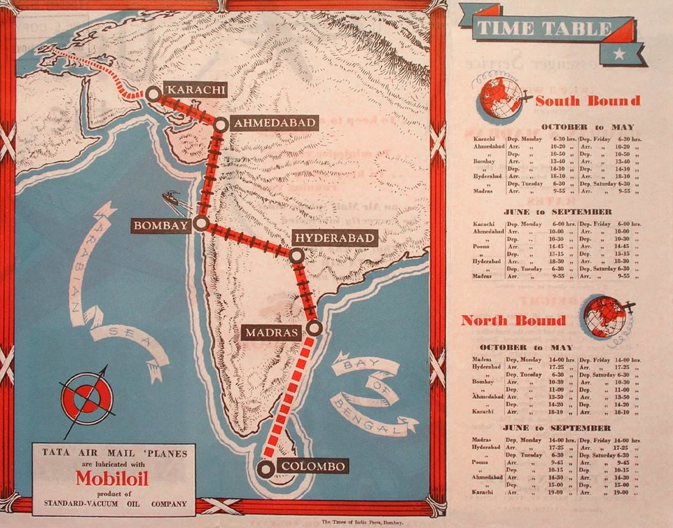 Tata Sons' Airline Timetable Image, Summer 1935 (interior)