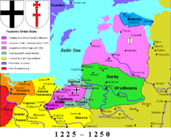Duchy of Lithuania in 1250 between the areas of the Livonian Order and the Teutonic Order