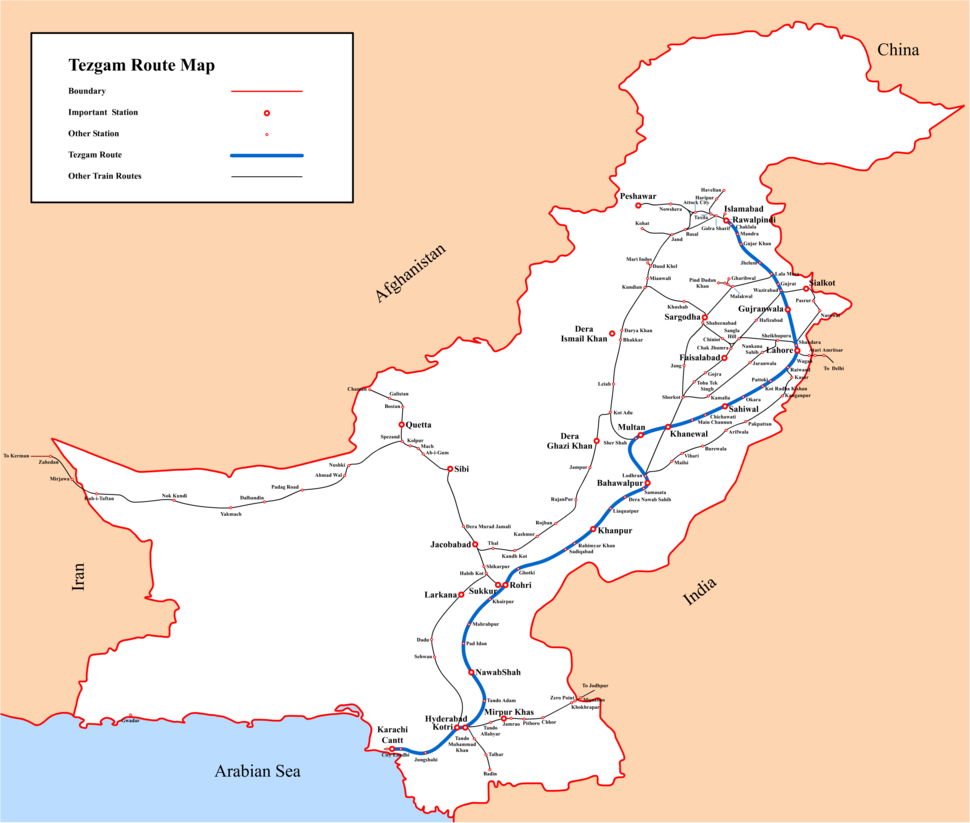 Map showing route of Tezgam express